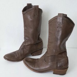 FRYE Carson Brown Leather Pull On Riding Boots